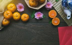 Картинка цветы, сакура, Мандарин, Цитрус, Половинки