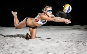 Картинка песок, волейбол, мяч