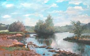 Картинка пейзаж, берег, речка, 2008г, Полдень, Айбек Бегалин