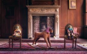 Картинка комната, конь, стулья, куклы