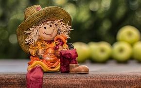 Картинка яблоки, игрушка, кукла, полка