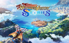 Картинка anime, lake, island, boy, village, dragon, valley, asian, hunter, japanese, oriental, Monster Hunter Stories, Monster ...
