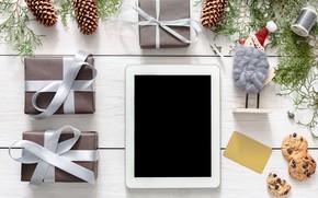 Картинка украшения, шары, Новый Год, Рождество, подарки, happy, Christmas, планшет, wood, New Year, Merry Christmas, Xmas, …