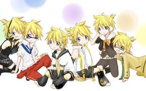 Картинка аниме, арт, малыши, Vocaloid, Вокалоид, персонажи
