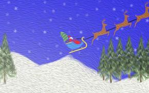Картинка grafika, Mikołaj, Boże Narodzenie, Nowy Rok, sanie