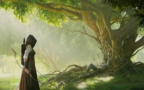 Картинка дерево, мужик, меч, fantasy, Man down