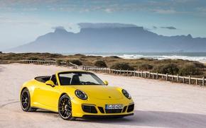 Картинка Желтый, 911, Porsche, Кабриолет, Carrera, Автомобили, GTS, Cabriolet, (991), 2017, Металлик, Worldwide