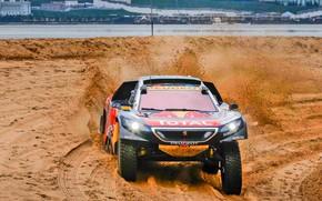Картинка Песок, 2008, Спорт, Скорость, Гонка, Грязь, Peugeot, Фары, Red Bull, Rally, Ралли, Sport, DKR, Шёлковый …
