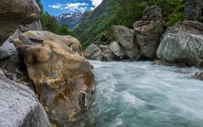 Картинка горы, река, камни, поток, Швейцария