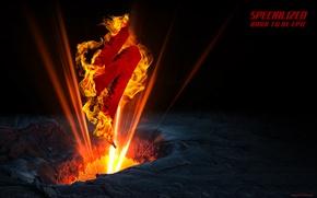 Картинка свет, велосипед, огонь, пламя, логотип, вулкан, лого, logo, bicycle, cycle, specialized, спеш, cinema 4D