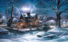 Картинка зима, машина, снег, деревья, праздник, луна, улица, елка, дома, Terry Redlin