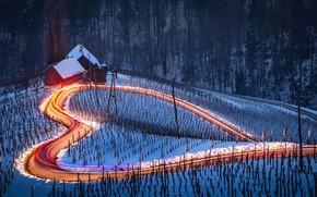 Обои выдержка, дорога, зима, снег, свет, домики