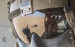 Обои шлем, вертолет, стекло, отражение, каска