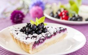 Картинка ягоды, выпечка, сахарная пудра, десерт, черная смородина, пирог, начинка