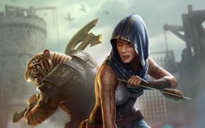 Картинка девушка, тигр, фантастика, воин, арт, капюшон, стрела, топор