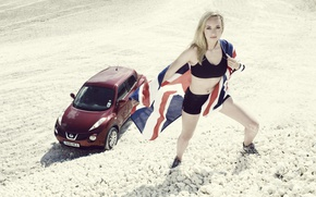 Картинка авто, взгляд, девушка, Девушки, флаг, блондинка, Nissan, Bonita Norris