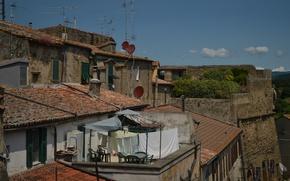 Картинка Дома, Крыши, Италия, Бельё, Italy, Тоскана, Italia, Toscana, Tuscany, Питильяно, Pitigliano
