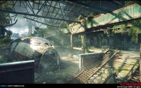 Картинка здание, разруха, каркас, Crysis 3, Airport Map