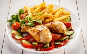 Картинка зелень, курица, тарелка, перец, ножки, овощи, помидоры, салат, картофель