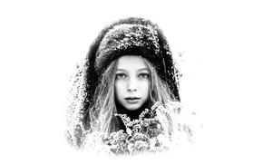 Картинка снег, шапка, девочка, чб портрет, Полина Карпенко, Sergey Piltnik (Пилтник)