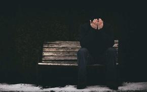 Картинка человек, скамья, эмоция