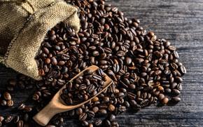 Обои кофейные зёрна, wood, мешок, кофе, ложка, coffee