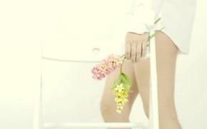 Обои девушка, цветы, ноги, стул