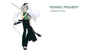 Картинка катана, белый фон, touhou, art, Myon, Konpaku Youmu, Touhou Project, Проект Восток, брючный костюм, Shimohigashi …