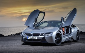 Обои coupe, 2018, BMW i8, закат