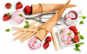 Обои варенье, клубника, мороженое, сладости
