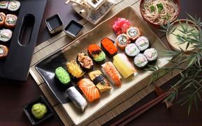 Картинка рыба, соус, икра, суши, роллы, сервировка, макароны