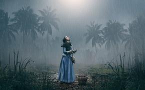 Картинка девушка, пальмы, дождь