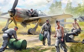 Обои FW-190, German air force ground crew, Авиационная техника, немецкие авиационные техники, рисунок, Аэродром