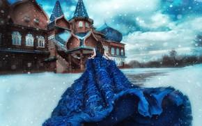 Картинка зима, девушка, снег, настроение, платье, терем, by Мария Липина, Полина Чех