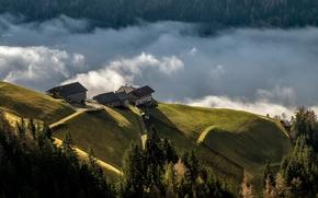 Картинка облака, пейзаж, горы, холмы, дома, леса