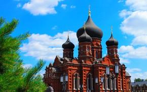 Картинка город, Россия, купола, Тула, Успенский собор, центр Тулы, Русские просторы