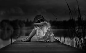 Картинка девочка, ч/б, одиночество