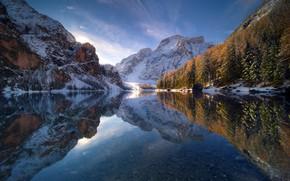 Обои осень, небо, отражения, снег, зима, озеро, гора
