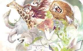 Картинка животные, девушка, аниме