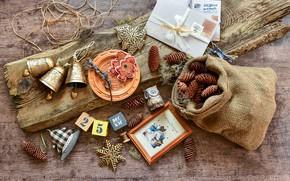 Картинка украшения, елка, Новый Год, Рождество, happy, колокольчики, Christmas, vintage, шишки, wood, New Year, Merry Christmas, …