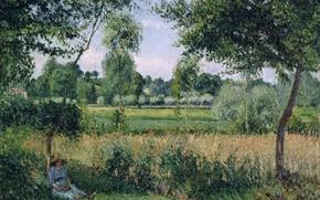 Картинка деревья, пейзаж, отдых, тень, картина, Камиль Писсарро, Утро. Солнечный Эффект. Эраньи