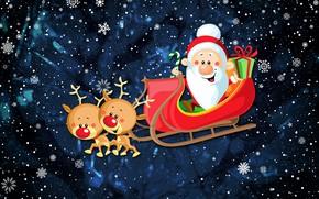 Картинка Зима, Минимализм, Снег, Новый Год, Рождество, Олень, Снежинки, Санта, Праздник, Санта Клаус, Настроение