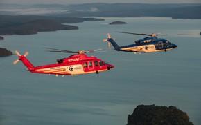 Картинка вертолеты, Sikorsky S-76, пейзаж