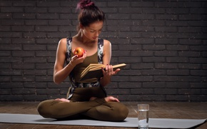 Картинка book, yoga, exercises, healthy food, Intellect