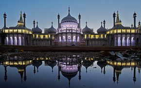 Картинка Брайтон, Суссекс, Англия, отражение, огни, Королевский павильон