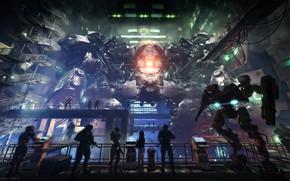 Картинка люди, роботы, ангар, дисплей, EUN Secret Military Base