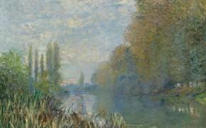 Картинка пейзаж, природа, картина, Claude Monet, Клод Моне, Берега Сены Осенью