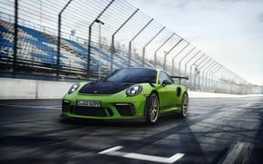 Картинка купе, 911 GT3 RS, 2018, ограждение, Porsche, трасса, трибуны