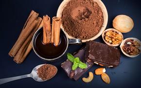 Обои орехи, шоколад, мята