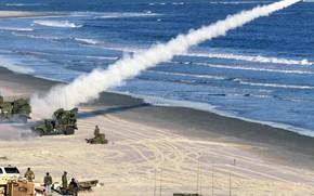 Обои US Army, military vehicle, Humvee, army, Humvee Avenger, High Mobility Multipurpose Wheeled Vehicle, military, missile, ...